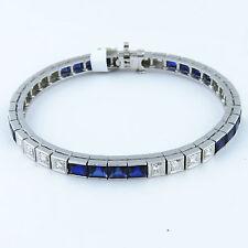 NYJEWEL Raymond Yard 14K W Gold Beautiful Art Deco Sapphire Diamond Bracelet
