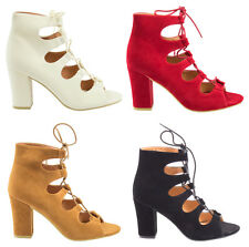 Womens Ladies Block Stacked Heels Laceup Corset Heel Peep Toe Party PU Lace Shoe