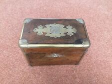 More details for rare antique victorian rosewood brass detail cigar box vintage collectible