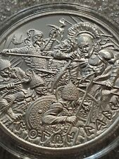 Molon Labe 1 oz .999 Silver Spartan King Leonidas surrounded by xerxes men Type8
