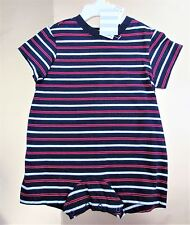6-12M Boys Lands End 1pc outfit Navy Red white Yellow striped NWT