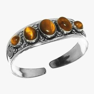 Tiger Eye 1 Piece Gemstone 925 Sterling Silver Plated Handmade Cuff Bracelets