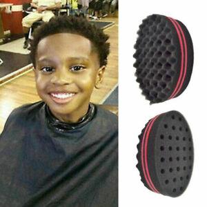 Double Sided Black Barber Hair Sponge Brush For Dreads Curl Wave Tool