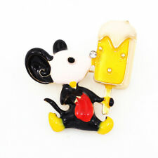 Betsey Johnson Enamel Crystal Cute Mouse Lick Ice Cream Charm Brooch Pin Gift