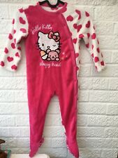 M/&S Girls White Hello Kitty Hooded Dressing Gown Robe Sleep Age 2-3 YRS SALE!