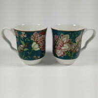Set of 2 222 Fifth Fine China Gabrielle Green Floral Porcelain Coffee Mug Cup