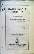SHERWIN WILLIAMS PAINT MAINTENANCE FINISHES L SCHEDULE BROCHURE GUIDE 1940