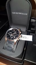 Mens Emporio Armani AR5905 Rose Gold Rubber Strap Chronograph Watch