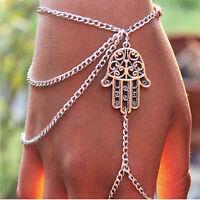 Kabbala Kabbalah Hamsa Armband Hand der Fatima Armschmuck Glück Armreif Silber A