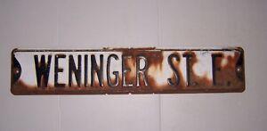 Vintage Embossed Metal Street Sign Weninger St. E.  From Judson Indiana