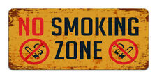 No Smoking Zone - Vintage Metal Warning Sign For Business Or Home