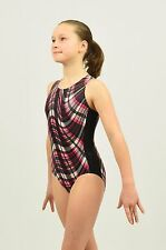 Gymnastics Tank Leotard size MED child (9-10 years) black/red/white plaid foil