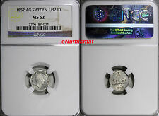 New listing Sweden Oscar Silver 1852 Ag 1/32 Riksdaler Ngc Ms62 Mint Luster Km# 681