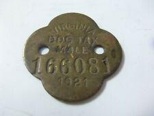 1921 Virginia Male Vintage Brass Dog License Permit Tax Tag
