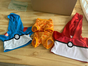 3 X Build A Bear Pokemon Clothing Items. 1 All In One And 2 Pokemon Hoodies