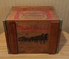 Vintage Budweiser Beer Anheuser-Busch Wood Box Wooden Crate For Records With Lid