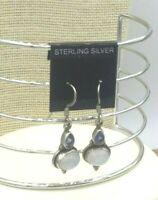Vintage Sterling Earrings 925 Rainbow  Moonstone Iolite gemstone Bali Pierced
