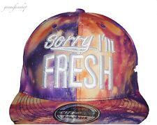 Lo sentimos I'm Fresh Morado Galaxy Snapback gorras de béisbol, Bling Plana Pico Sombrero equipada