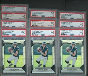 Lot of (10) 2016 Panini Silver Prizm #218 Carson Wentz RC Rookie PSA 9 MINT