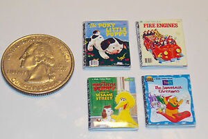 Dollhouse Miniature Children's Books Set of 4   1:12 scale  H16  Dollys Gallery