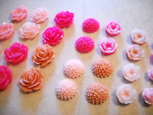20 Flower Cabochons Resin Flower Flat Backs Assorted Cabochons Resin Cabochons