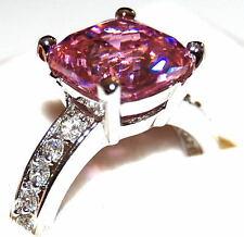 Gatsby Art Deco Pink Dia. CZ Ring sz 10
