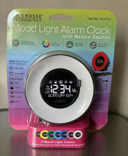 New La Crosse Technology Mood Light Alarm Clock with Nature Sounds Digital Night