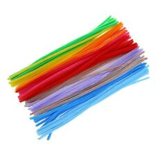 100pcs Random Color New UK Bright Chenille Multi Coloured Pipe Cleaners NEW N3