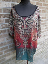 Avenue Tunic Blouse Top Sheer Brown Multi Front/Solid Black Back Plus Sz 4X