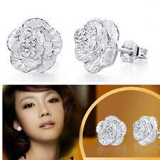 925 Silver Plated Flower Earrings Fashion Jewelry Girls Ear Stud Women Charm