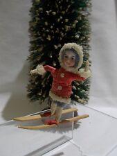 GERMAN ~ Miniature Cabinet Size HEUBACH Child (Girl) on Skies -~~ Mint