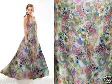 yardage designer material pure silk chiffon fabric floral print light weight npc