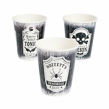 8 HALLOWEEN Party SPOOKY SOIREE Black White Poison Tonic Paper Beverage CUPS 9oz