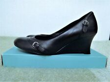 Ladies Clarks Shoes Size 6D Smart Casual Black Leather Wedge Heels