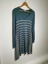 East UK 16 Green & Beige Striped knitted Jumper Dress A-line Long Sleeve