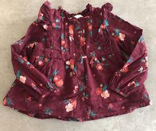 M&S Girls Burgundy Floral Print Shirt Age 2-3