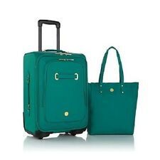 Joy Rich Leather Christie luggage with Tote and spinball wheels - TEAL