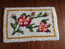 "Vintage  latch hook floral pinks floor/throw rug finished- 34"" x 22""-FREE SHIP"