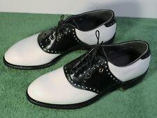 """NEW"" Men's 9.5 B FootJoy Classics Style 57307 White/Black Saddle Golf Shoes"