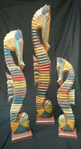 Hand Carved / Painted 102cm Sea Horses Set Of 3,Fair Trade Of Indonesia