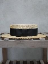 Traditional Straw Boater by Olney Headwear - UK Made Boatman Hat – Black band