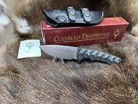 "Muela 8 3/4"" Rhino Sandvik Knife Black Micarta Handles Sheath Mint In Box 10SVM"