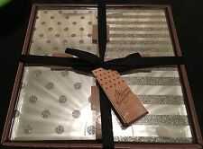 GIFT SET 4 MIRRORED GLITTER TABLE COASTERS GLASS STRIPE POLKADOT DETAIL SILVER