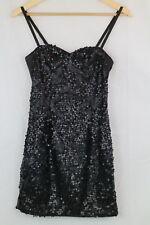 H&M Black Sequin Evening Party Cocktail Occasion Mini Dress Size 34