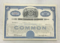 Erie Railroad Company Stock Certificate 100 Shares 1950's