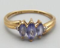 Vtg 10K Gold Tanzanite Diamond Ring Sz 6.25 Ornate Marquise Cut Signed STS