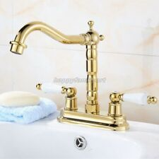 "4"" Center Hole Bathroom Faucet Two Handles Gold Brass Basin Mixer Tap ynf431"
