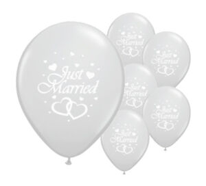 """10 JUST MARRIED SILVER 12"""" HELIUM QUALITY PEARLISED WEDDING BALLOONS (PA)"""