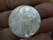 """Carved Dog Spaniel Large Pearl MOP Button 1-3/8"""" Sussex Cocker"""