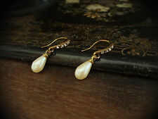 Vintage Clear Crystal & Pearl Drop Earrings. V Downton Abbey
